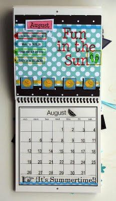 @Elizabeth Carney created this wonderful Calendar using SRM's 6 x 6 calendar, calendar months, calendar numbers and other assorted SRM Stickers.  August