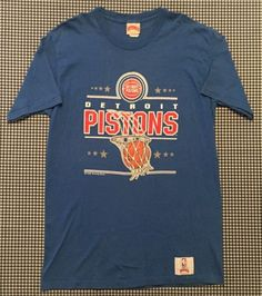 7a5ed54b5 Vintage Detroit Pistons NBA Team Graphic T-Shirt Size XL Nutmeg Mills Blue  1989