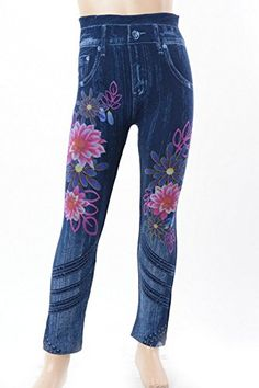 L4U Girls Blue Denim Print with Flowers Printed Fashion Leggings. Available in two sizes: S/M, and L/XL.