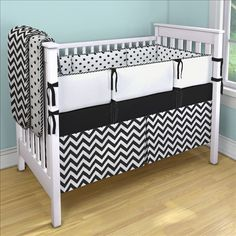Black and White Chevron Custom 4-piece Crib Bedding Set | Black and White Chevron Nursery Idea | Carousel Designs