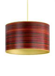 Red stripe wood veneered drum shade with gold lining.