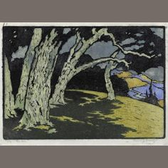 Pedro Joseph Lemos (1882-1954) Top o'The Hill, 1934  Woodcut in colors on tissue-thin Japanese paper, signed in pencil, titled, dated and numbered '1 of 3', with margins, framed. 8 1/2 x 12in sheet 9 1/2 x 13 1/8in Sold for US$ 4,750 inc. premium