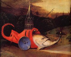 Strange scorpion-fish with wheels eating another fish. Temptation of Saint Anthony detail Hieronymus Bosch
