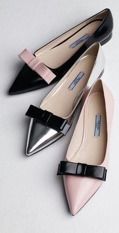 Prada Bi-Color Pointed-Toe Bow Flats (Pre-Fall 2013)