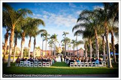 Ceremony in Palm Courtyard. David Champagne Photography
