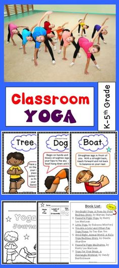 for Kids: Yoga Pose Cards and Journal for Brain Breaks Yoga can be a great break from the classroom routine or can also be a great way to use your Physical Education time! This product includes 14 posters in color (and black and white), a yoga journal, a Elementary Pe, Childrens Yoga, Classroom Routines, Yoga Books, Brain Gym, Yoga Posen, Yoga Journal, Brain Breaks, Yoga For Kids
