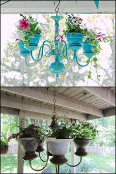 Decorate your outdoor space by making a chandelier planter
