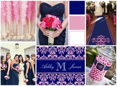 Navy Blue Damask and Pink Glitter Wedding Invitations by the Damask Gallery