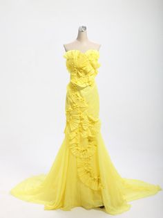 yellow  Strapless Embroidery long prom dresses  sexy Lace-up  long party dresses
