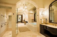 """A bathroom """"Suite"""" with his/her sinks, huge double standing showers, jacuzzi tub, and a separate toilet 'room'-Ah, my dream bathroom Large Bathrooms, Dream Bathrooms, Beautiful Bathrooms, Master Bathrooms, Master Baths, Bathrooms 2017, Master Shower, Modern Bathrooms, Bad Inspiration"""