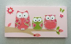 Items similar to Baby girl room owl canvas. Decor picture & wall decal kids bedroom. Children's nursery pink on Etsy