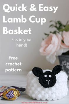 The Lamb Cup is a free crochet pattern for a miniature lamb basket by Nana's Crafty Home. An adorable and quick make that fits in the palm of your hand. Perfect quick make for small Easter baskets, baby shower gifts or novelty baskets for a party. So cute & easy to make! Easy Beginner Crochet Patterns, Easter Crochet Patterns, Basic Crochet Stitches, Amigurumi Patterns, Baby Patterns, Crochet Ideas, Cute Crochet, Crochet For Kids, Easy Crochet