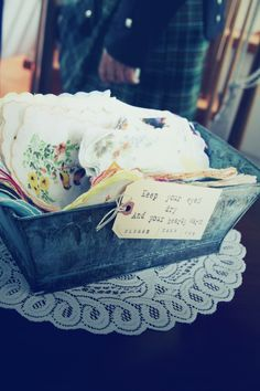 How thoughtful... vintage hankies at the ceremony .... can be used to dry those crying eyes and then kept as a sweet memento of the wedding