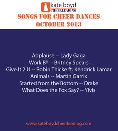 Songs for Cheer Music, October 2013 Cheer Music, Cheer Dance, Cheer Stuff, Cheerleading, Gymnastics, Coaching, Blood, Positivity, Songs