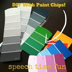 Speech Time Fun: DIY with Paint Strips! Various ways for use in speech and language. Pinned by SOS Inc. Resources. Follow all our boards at pinterest.com/sostherapy for therapy resources.