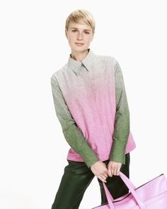 The Valta button-up shirt is made of cotton poplin and decorated with the green and pink Taivas (Sky) pattern. The shirt has a concealed button list in the front with pink buttons and pleated sleeve ends with slits and wide single-button cuffs. Green Sweater, Green Shirt, Normal Body, Pink Outfits, Marimekko, Long Toes, Poplin, Pink And Green, Button Up Shirts
