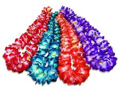 Wear this bright and colorful Hawaiian style flower lei at your luau or tropical themed party. This Hawaiian Lei features an assortment of brilliantly hued flowers with an elegant gradation in design and strung together to create a silky flower necklace. One Hawaiian flower lei. NOTE: This product is part of an assortment, specific color/style NOT guaranteed.