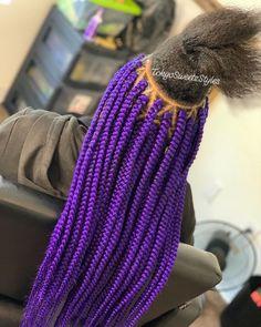 Braid Hairstyles for Kids – Lavish Braids Purple Box Braids, Colored Box Braids, Big Box Braids, Braids With Curls, Black Girl Braids, Girls Braids, Twist Braids, Twists, Baby Girl Hairstyles
