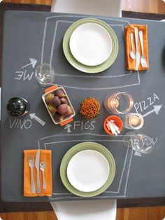 chalkboard table would be great for parties, you can write each dish..