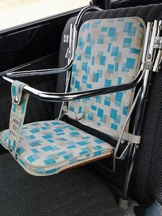 1970's baby car seat - the idea of restraint had not even come into mind yet. All this was made for was to free the mothers arms while she drove.