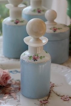 Shabby chic painted bottles