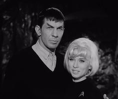 "Unused publicity shot for ""The Cage"" with Leonard Nimoy (in original concept make-up) and Susan Oliver (in an experimental uniform)."
