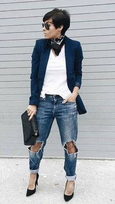 Jeans, white top and navy blazer - LadyStyle