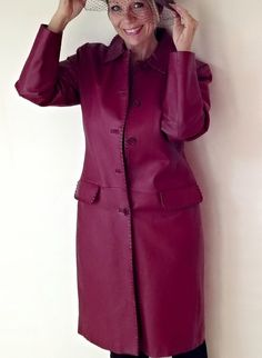 Vintage Long Leather Coat Deep Red Wine by EchoesInTimeVintage