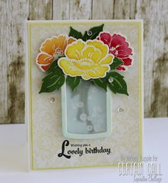 Melody Rupple: A Paper Melody – Wishing You a Lovely Birthday - 8/15/15.  (Papertrey Ink stamps/dies:  Vintage Linen. PTI Die: Friendship Jar).  (Pin#1: Dies/Stamps: PTI. Pin+: Mason Jars).