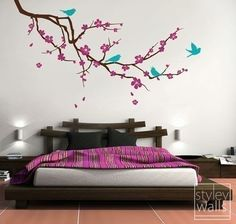 Cherry Blossom Branch and Birds 3 COLORS - EX LARGE Vinyl Wall Decal | Styleywalls - Housewares on ArtFire