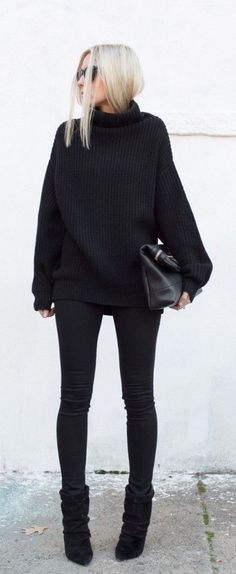 Beautiful all black outfit style, fashion, women's fashion, outfits, effortless, chic, stylish, street style