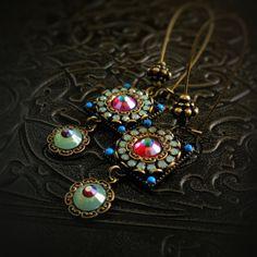 Mosaic Earrings - Aqua, Red, Turquoise - Artistic Gypsy Bohemian - Boho Wedding - Unique Mosaic Earrings - Petite