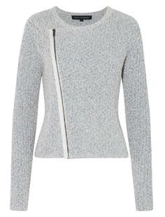 French connection side zip knit cardigan is an easy layering piece for autumn. Pair back with a casual striped tee and boyfriend jeans for a relaxed daytime look. Fits true to size.