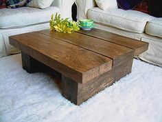 NEW DARK SOLID PINE WOOD COFFEE TABLE CHUNKY RUSTIC PLANK | eBay