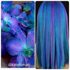 Flower Hair Color Inspiration by @katelsmac Mermaid hair Rainbow hair Blue Hair hotonbeauty.com