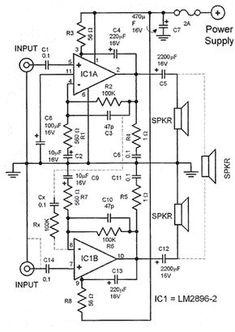 TDA2822M Stereo headphone amplifier circuit schematic