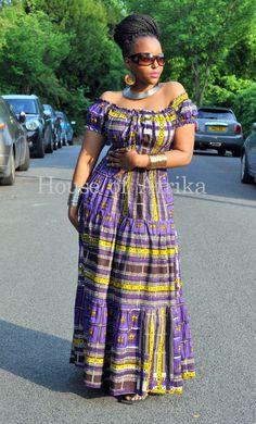 Afro-bohemian gypsy style maxi dress by HouseofAfrika on Etsy
