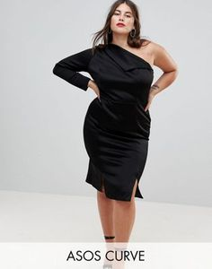 ASOS CURVE Double Split One Shoulder Midi Dress