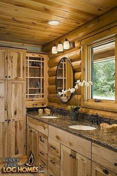 Inside pictures of log cabins log cabin interior for Log cabin kitchens and baths