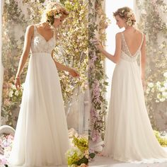New Arrival Crystal Beaded Open Low Back Chiffon Sexy Flowy Bridal Gown Beach Wedding Dress $159.00