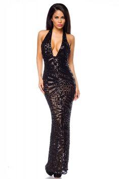 4100fb3f447 langes Abendkleid mit Pailletten - Kleidung Onlineshop Glamouröse Kleider