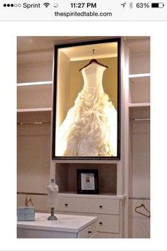 Wedding dress shadow box in closet---ummmm.... YES! Lol I need to do this <3 so much better than storing it in a box under the bed!