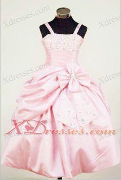 Taffeta Beading Little Girl Pageant Dresses For Custom Made