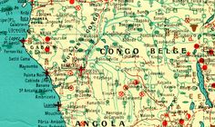 Detail from a wall map by the Compagnie Maritime des Chargeurs Réunis showing the world's resources, 1958. All drawn by hand. Congo Belge has gold, silver, copper, lead, zinc, iron, tin, platinum, tungsten, manganese, tantalum, diamonds, oil, coal, rubber, timber, palm-oil, coffee and cocoa. One might imagine that the people of this resource-rich country would be wealthy today. Somehow it has not turned out that way. Learyworks.com collection.