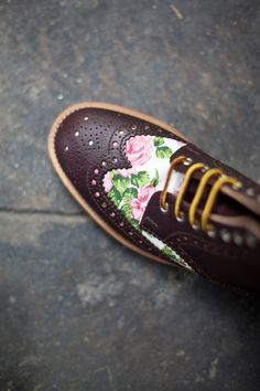 floral wingtip boot shoe