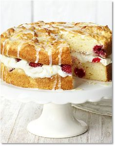 Luscious lemon & raspberry sandwich - - Lemon curd yogurt gives this gluten-free sponge cake a lovely light texture. It's filled with cream and berries and topped with a drizzle icing. Gluten Free Sponge Cake, Gluten Free Cakes, Gluten Free Desserts, Cereal Recipes, Cake Recipes, Dessert Recipes, Sweet Recipes, Baking Recipes, Gluten Free Birthday Cake