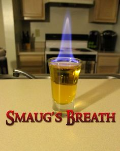 Cocktail Recipe: Smaug's Breath Smaug from The Hobbit has a fiery breath, but maybe he can put it to good use by lighting this cocktail from The Drunken Moogle. To make your own, you'll need Goldschläger, which is a type of cinnamon-flavored schnapps, Fireball Cinnamon Whisky, a splash of grain alcohol and a bit of flame.