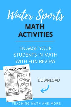 Want a fun Winter Sports activity for kids? Try one of these eight math worksheets to engage your students in Winter equations, money, percents, decimals, bar graphs, data, coordinate plane, unit rate, and integers. Students will solve word problems about Winter Sports and more. Perfect for Middle School grades 6, 7, 8. Download the math activities today!