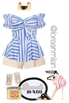 A fashion look from March 2017 featuring stripe top, short shorts and strappy sandals. High Fashion Outfits, Casual Outfits, Suzanne Kalan, Delpozo, Sophia Webster, Elie Saab, Spring Break, Romwe, Milan