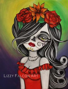 Esperanza, Original painting Day of the Dead by Lizzy by lizzyfalconart